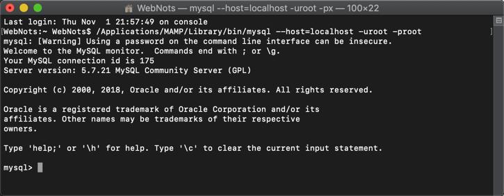 Entering MySQL in Terminal