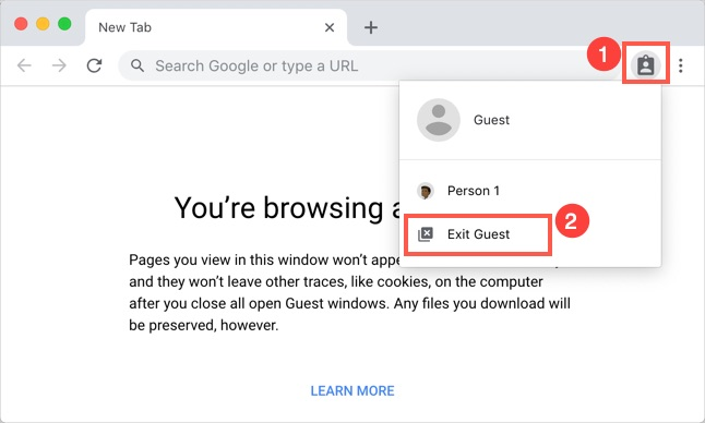 Exit Guest Mode in Chrome