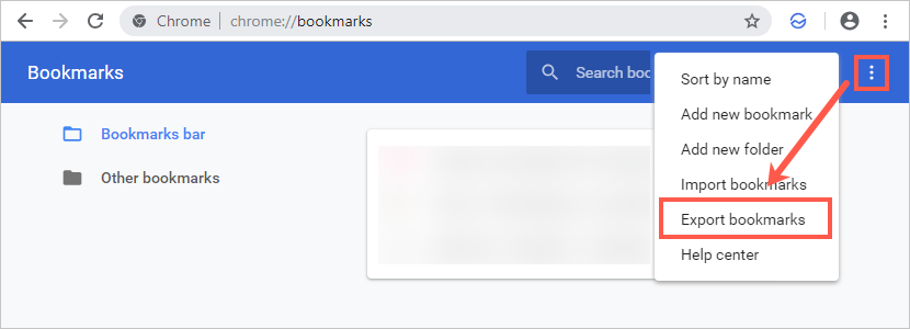 Export Bookmarks in Chrome