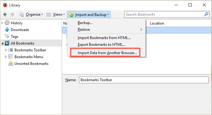 how to import bookmarks back into firefox