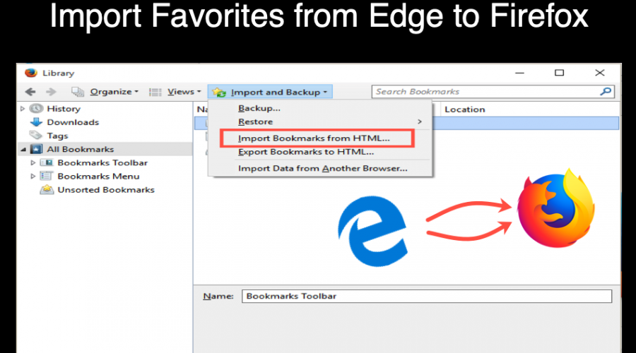 How to Import Favorites from Microsoft Edge to Firefox?
