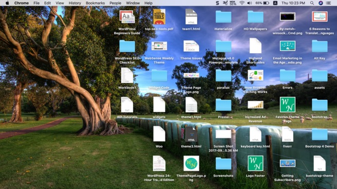 Mac with Cluttered Desktop