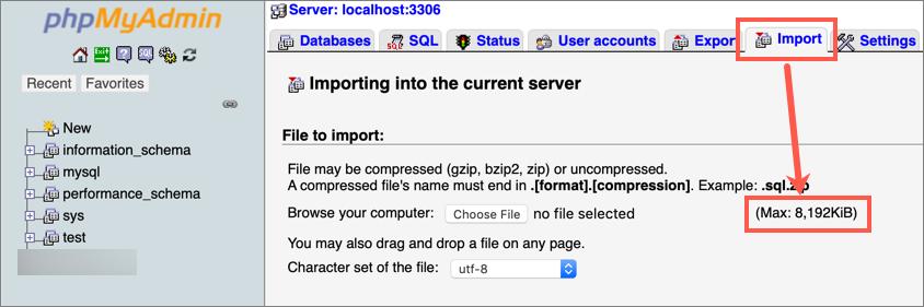 Max File Upload Limit in phpMyAdmin