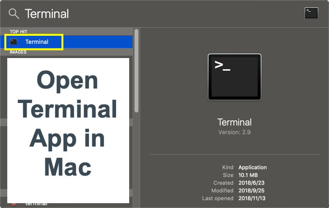 Open Terminal App in Mac