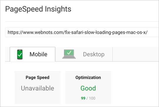 PageSpeed Score with WP Rocket