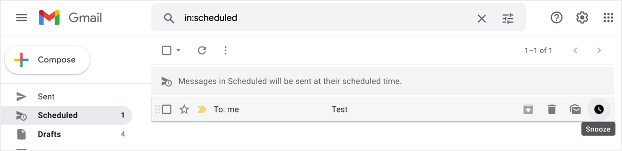 Snoozing Scheduled Emails