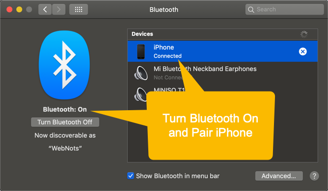 Turn Bluetooth on and Pair iPhone