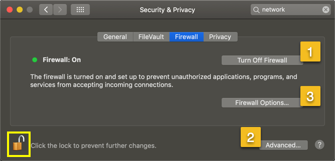 Turn Off Firewall in Mac
