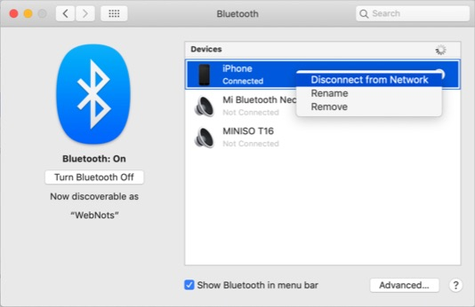 Unpair iPhone from Bluetooth Preferences