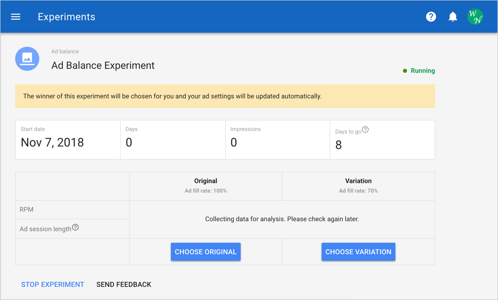 View Experiment Status in AdSense