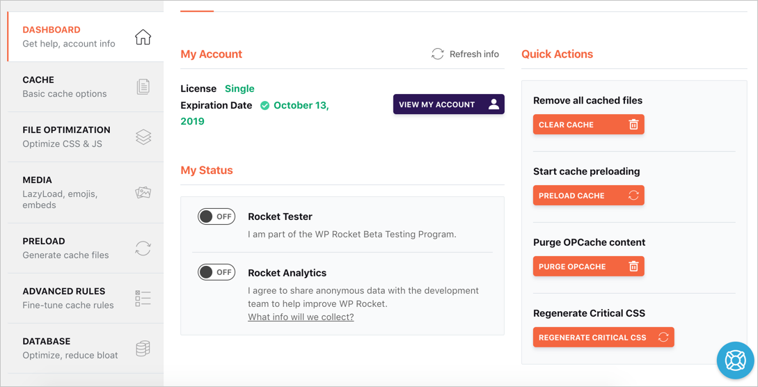 WP Rocket Plugin Dashboard