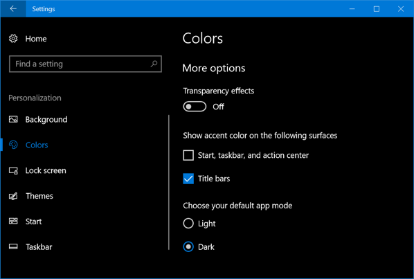 Windows 10 Dark Mode