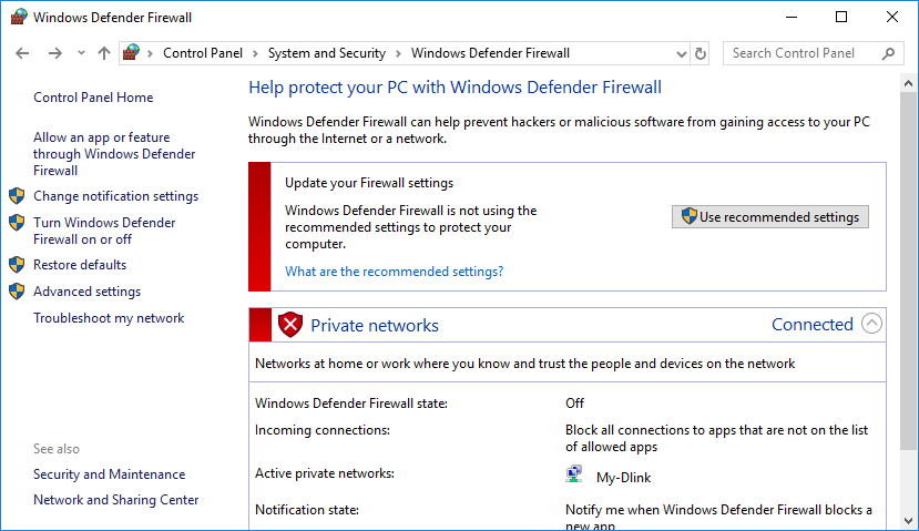 Windows Warning on Disabled Firewall