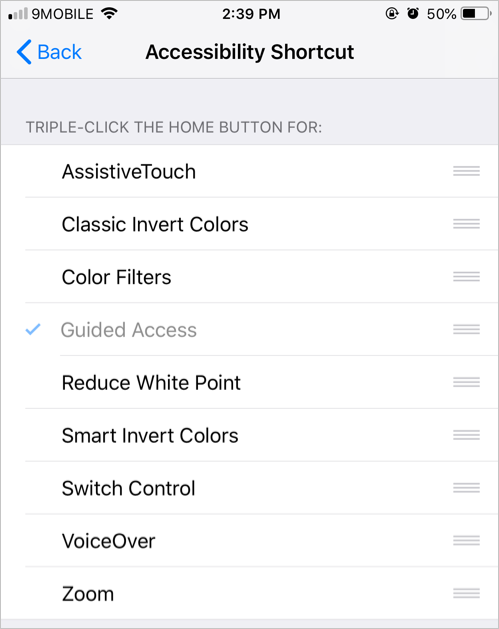 Accessibility Shortcut
