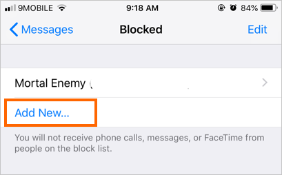 Add New Contact to Block