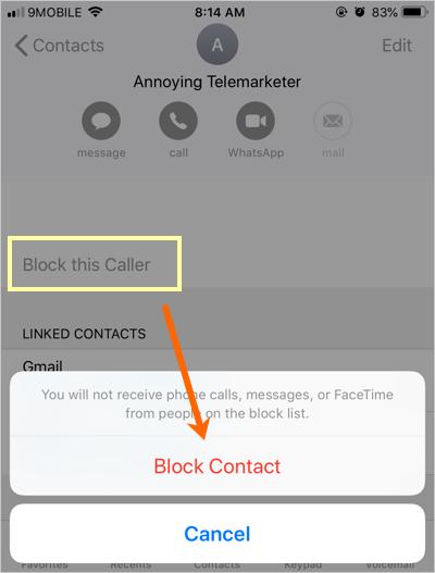 Block Caller in iPhone