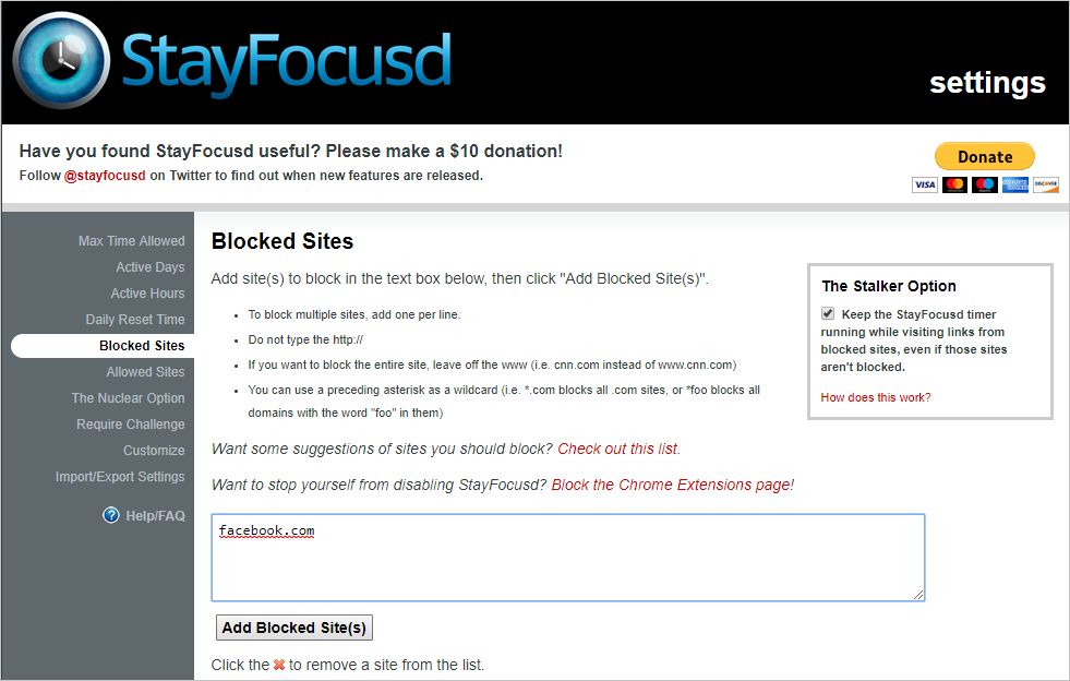 Block Sites in StayFocusd