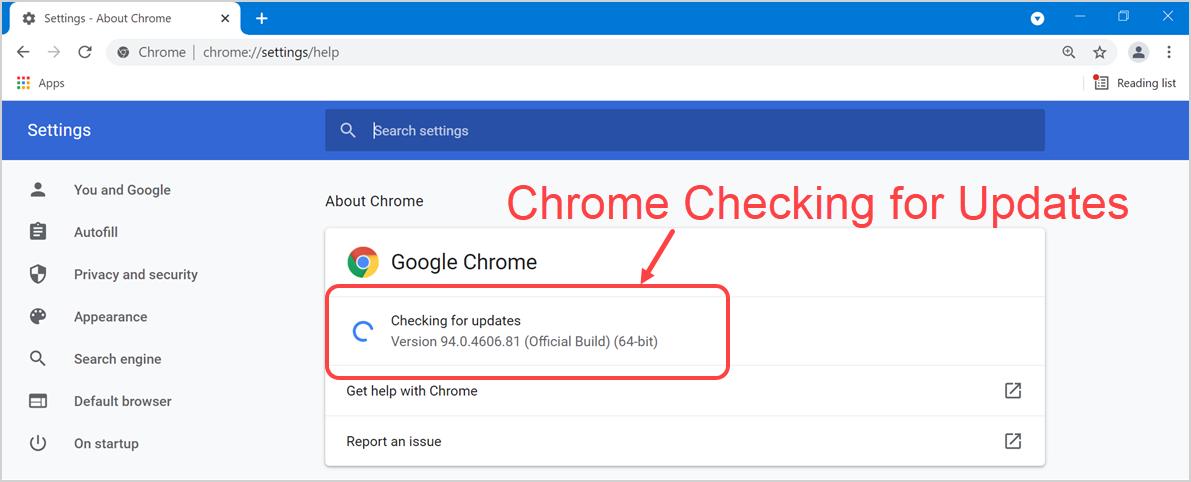 Chrome Checking for Updates