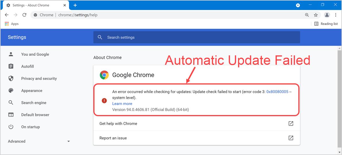 Chrome Update Failed with Error