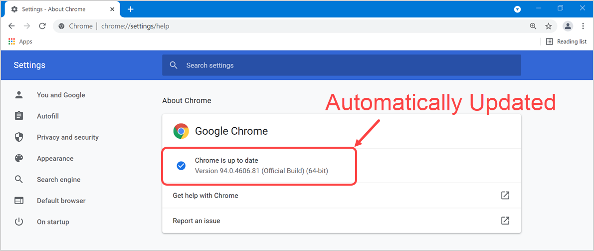 Chrome Updated Automatically