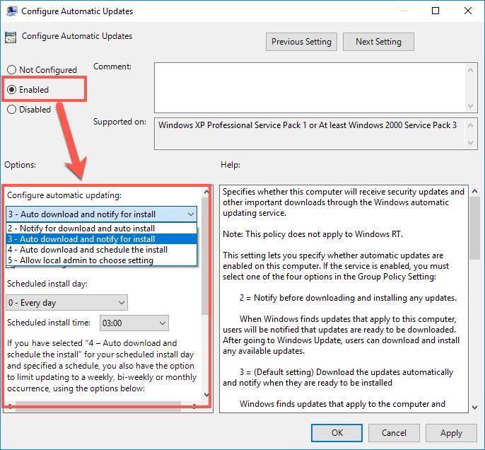 Configure Windows Automatic Update