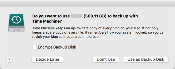 Confirm Backup Disk First Time