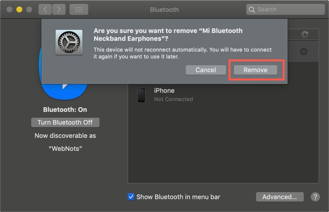 Confirm Removing Bluetooth Device