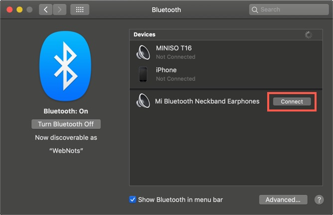 Connect Bluetooth Device