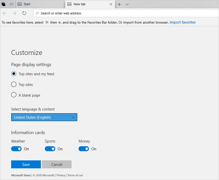 Customize Microsoft Edge