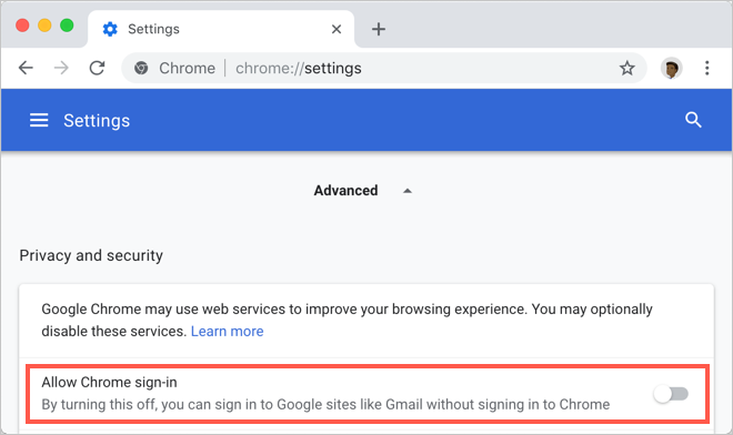 Disable Automatic Chrome Sign In