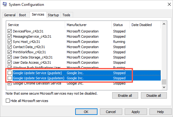 Disable Chrome Updates in System Configuration