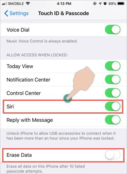 Disable Siri on Lock Screen
