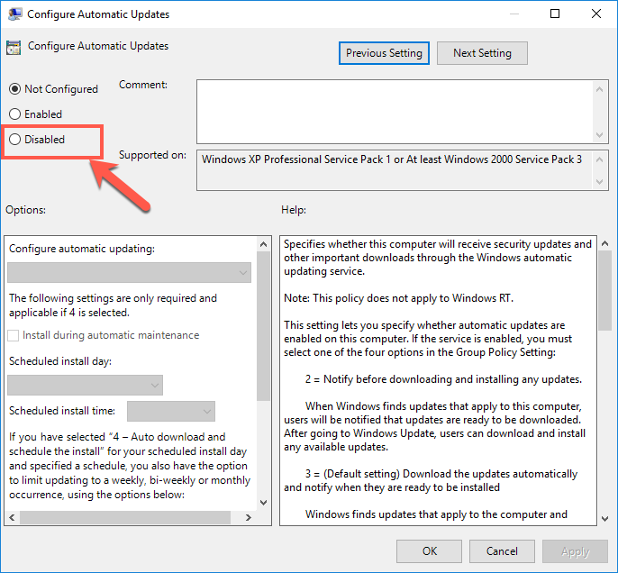 Disable Windows Update from Policy Editor