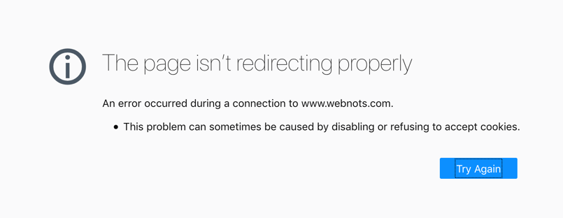 Error Too Many Redirects in Firefox