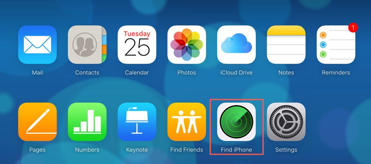 Find Phone in iCloud