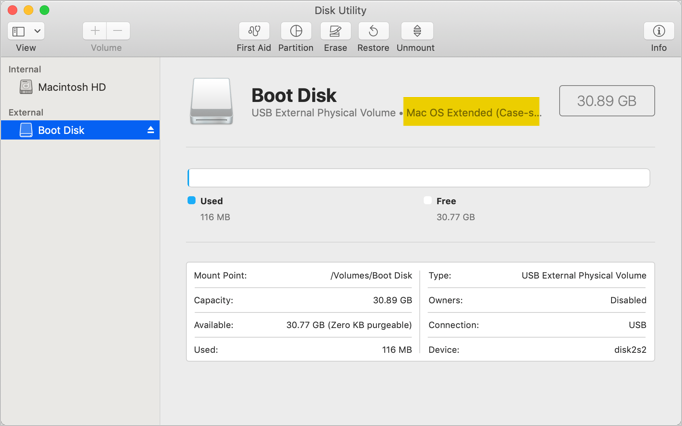 Formatted USB Drive in Mac OS Extended File Format