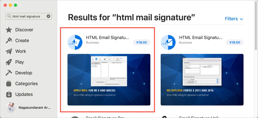 HTML Email Signature for Mac