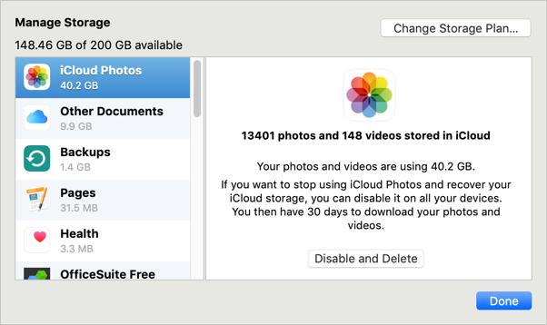 Manage Storage in iCloud
