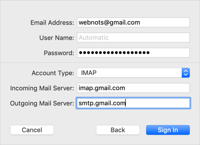 Manually Add Gmail in Mac Mail App