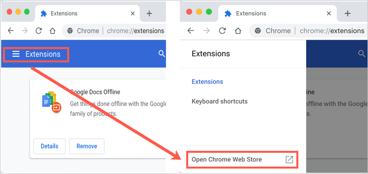 Open Chrome Web Store Extensions Page