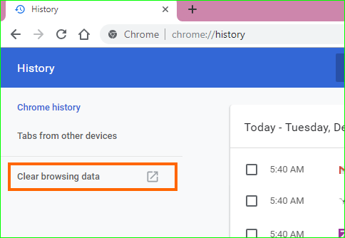 Open Clear Browsing Data Box in Chrome