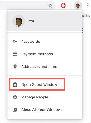 how to change to guest on google chrome