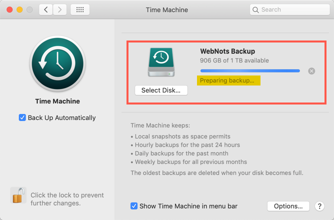 Preparing Time Machine for Backup