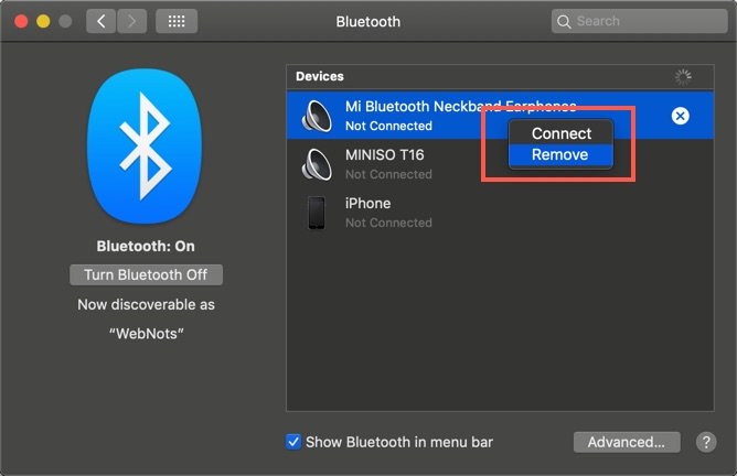 Remove Device from Bluetooth Preferences