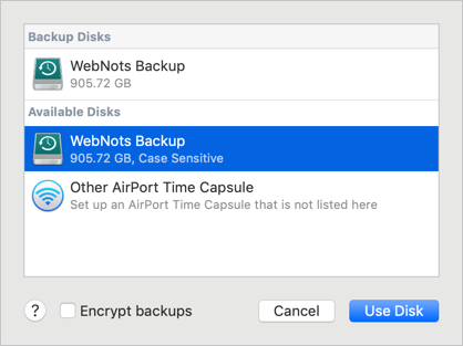 Select Backup Drive Manually