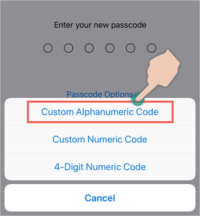 Set Alphanumeric Password in iPhone