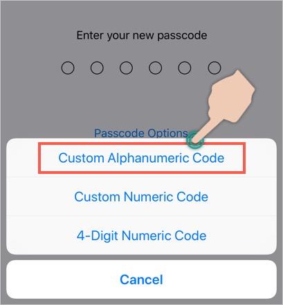 Set Alphanumeric Password in iPhone