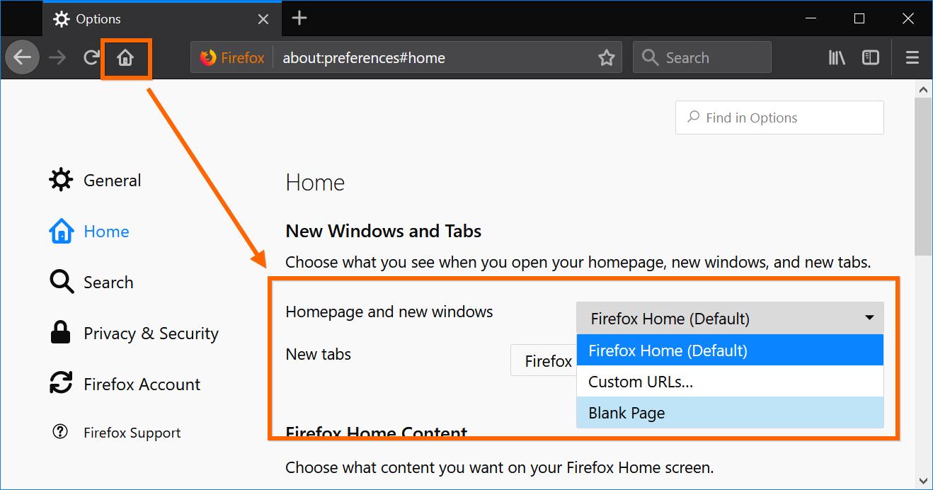 Setup Firefox Home Page
