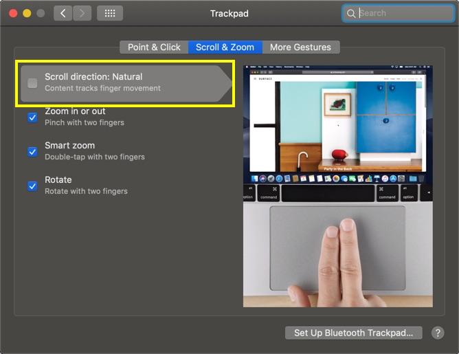 Setup Scroll Direction in Mac