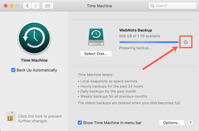 Stop Backup in Time Machine